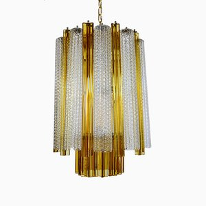 Murano Glass Chandelier with Trilobi Glass from Venini, 1960s