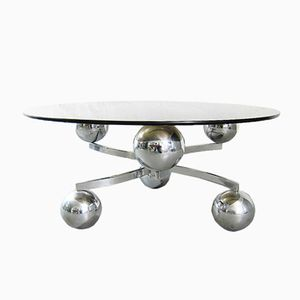 Vintage Sputnik Coffee Table in Chromed Metal and Smoked Glass