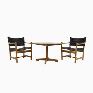 Danish Black Leather Armchairs & Coffee Table by Ditte & Adrian Heath,1960s