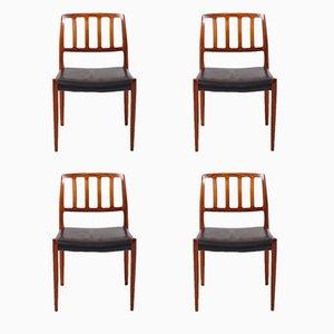 Modell 83 Stühle von Niels O. Møller für J.L. Møllers, 1970er, 4er Set