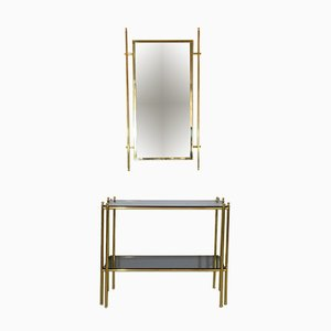 Mid-Century French Console & Mirror Set, 1970s