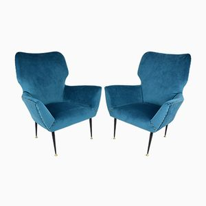 Italian Curved Lounge Chairs, 1950s, Set of 2