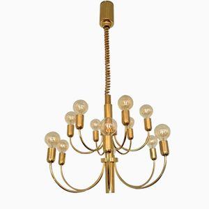Italian 2-Tiered Brass Chandelier, 1960s