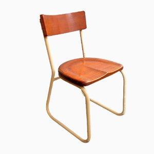 Sedia industriale in metallo e legno