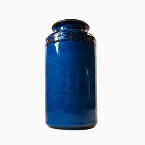 Vaso in ceramica blu di Maria Phillipi per Søholm, Danimarca, 1984