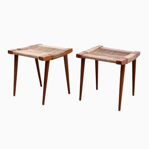 Vintage French Wooden Stools, Set of 2