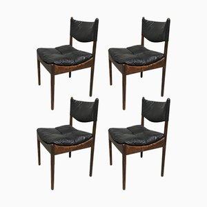 Chaises Mid-Century en Palissandre de Rio & Cuir Noir par Kristian Vedel pour Soren Willadsen, Danemark, Set de 4