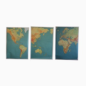 Dreiteilige Französische Vintage Weltkarte
