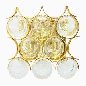 Wandleuchte aus Vergoldetem Messing & Kristallglas von Ernst Palme für Palwa, 1960er