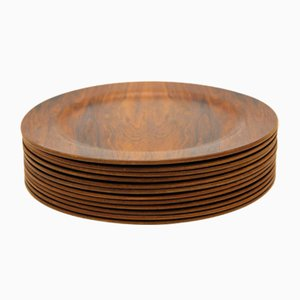 Plates in Rosewood, 1950s, Set of 12