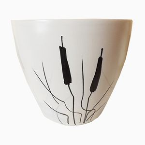 Vaso vintage in ceramica raffigurante una pianta di Milet for Sèvres