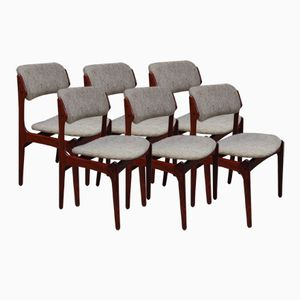 Model 49 Dining Chairs in Rosewood by Erik Buch for O.D. Møbler, 1960s, Set of 6