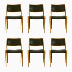 80 Chairs by Niels Otto Moller for J.L. Møllers, 1960s, Set of 6