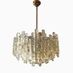 Austrian Chandelier with 36 Frosted Glass Pieces from Kalmar, 1972