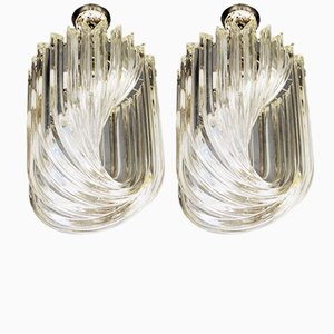 Curved Clear Glass Pendants by Carlo Nason, 1980s, Set of 2