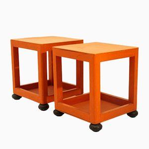 Comodini quadrati arancioni, anni '60, set di 2