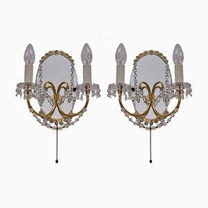 Messing & Spiegelglas Wandlampen, 1940er, 2er Set