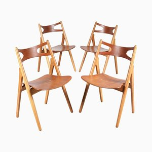 Mid-Century CH29 Sägebock Esszimmer Stühle von Hans J. Wegner für Carl Hansen & Son, 4er Set