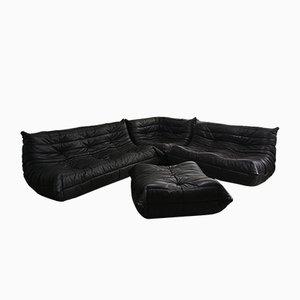 Braunes Vintage Leder Togo Sofa Set von Michel Ducaroy für Ligne Roset, 1970er