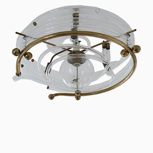 Vintage Glass and Brass Ceiling Light