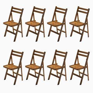Klappbare Mid-Century Stühle aus Holz, 1960er, 8er Set