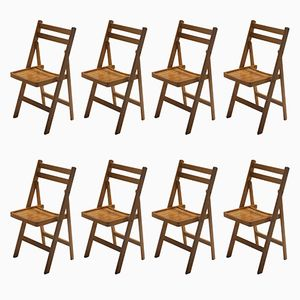 Mid-Century Folding Wooden Chairs, 1960s, Set of 8