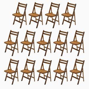 Klappbare Mid-Century Stühle aus Holz, 1960er, 14er Set
