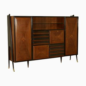 Mid-Century Sideboard in Rosewood Veneer, Brass, and Glass
