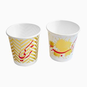 Set di bicchieri di carta Ya Helwe Ya Morra Um Kulthums di Rana Salam Studio, 2018, set di 2