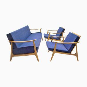Skandinavisches Schlafsofa mit 2 Sesseln, 1960er