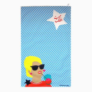 Um Kulthum Goes Blond! Tea Towel by Rana Salam