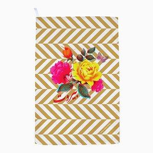 Flowers / Gold Stripes Tea Towel by Rana Salam