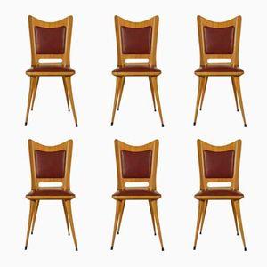 Italian Chairs in Cherry and Skai, 1950s, Set of 6