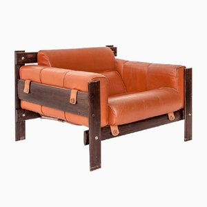 Leather and Jacaranda Lounge Chair by Percival Lafer, 1958