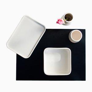 Set de Vaisselle PerInciso en Céramique avec Plateau en Aluminium par Orma
