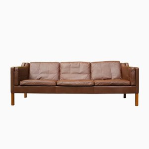 Dänisches 2213 Leder Sofa von Børge Mogensen für Fredericia, 1960er