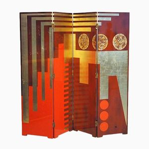 Vintage Lacquered Art Deco Style Screen