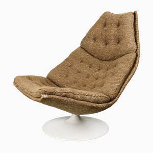F588 Swivel Brown & White Lounge Chair by Geoffrey Harcourt for Artifort, 1960