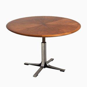 Verstellbarer Runder Mid-Century Furnier Tisch