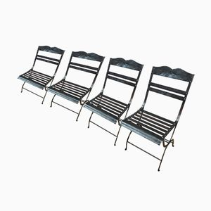Garden Chairs in Polished Riveted Metal, 1930s, Set of 4