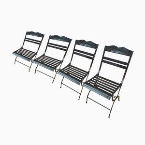 Gartenstühle aus Poliertem Genieteten Metall, 1930er, 4er Set