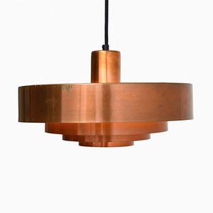 Lampe à Suspension Roulet Mid-Century en Cuivre Rouge par Jo Hammerborg pour Fog & Mørup