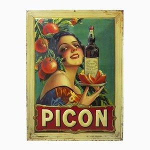 Lithographiertes Picon Blechschild von Sirven, 1920er