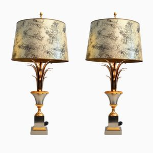 French Regency Palm Leaf Table Lamps from Maison Charles, 1960s, Set of 2
