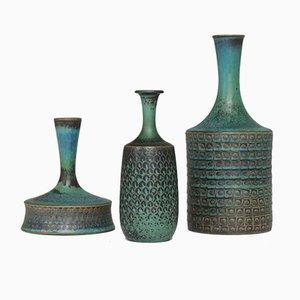 Relief Stoneware Vases by Stig Lindberg for Gustavsberg, 1960s, Set of 3