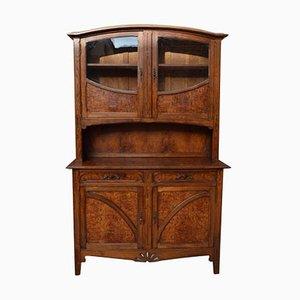 Antique Art Nouveau-Style 2-Part Buffet in Oak and Glass