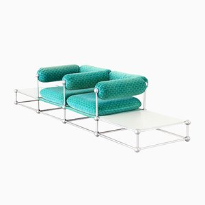 Mid-Century S420 Modular Seating Two-Seater Sofa with Tables by Verner Panton for Thonet