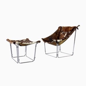 Vintage Cowhide Lounge Chair with Ottoman by Kwok Hoi Chan for Steiner