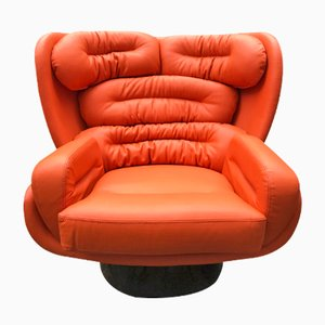 Elda Orange Leather Lounge Chair by Joe Colombo for Comfort, 1970s