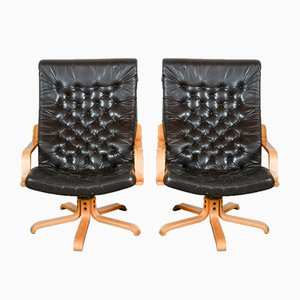 Mid-Century Scandinavian Leatherette Swivel Chairs, 1970s, Set of 2